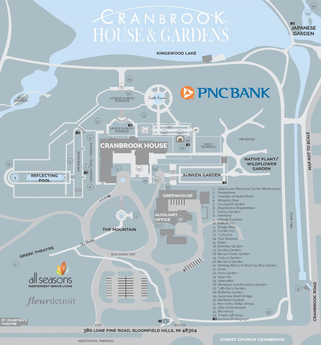 Cranbrook House & Gardens map