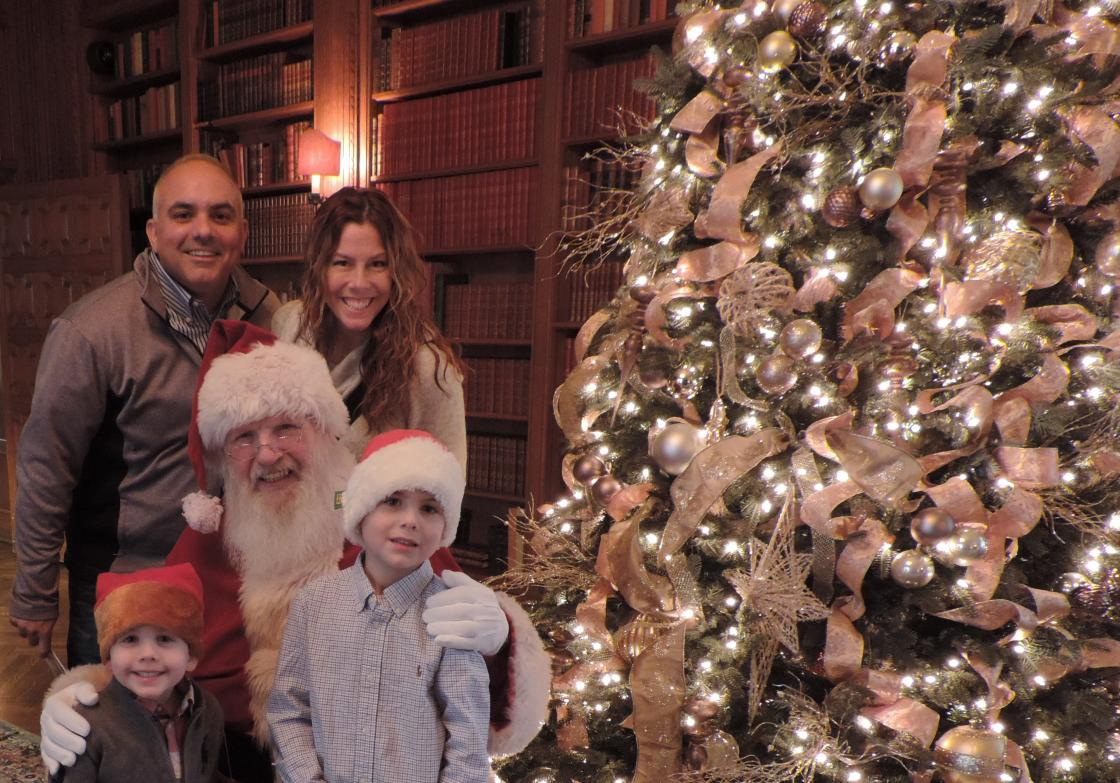 Family with Santa at Cranbrook House - Holiday Splendor - December 2017