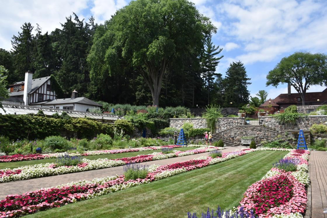 Photograph of visitors in the Sunken Garden at Cranbrook House & Gardens, July 2020.