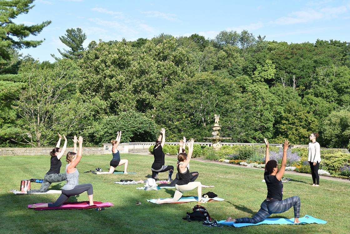 Yoga in the Gardens class at Cranbrook House & Gardens, summer 2018.