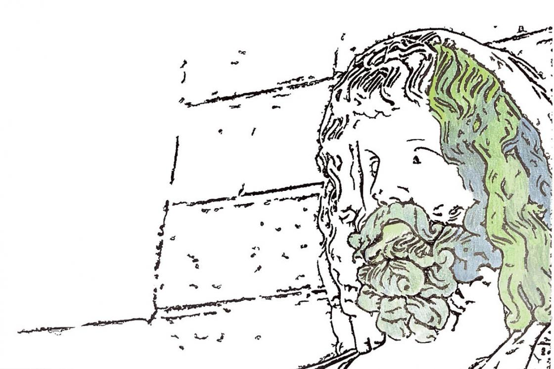 Partially colored photo of a Weeping Zeus coloring page